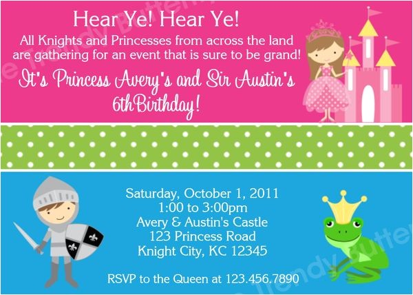 prince and princess birthday invitation twins