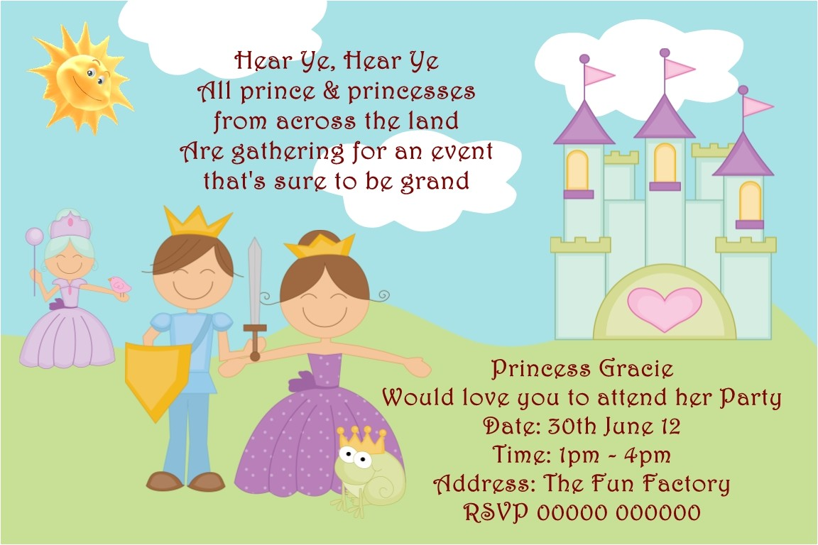prince theme birthday invitation