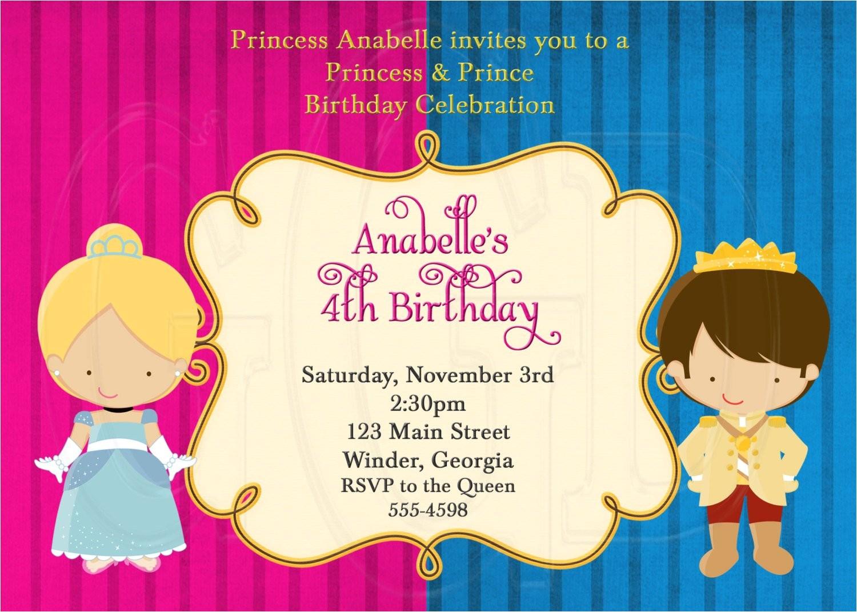 princess and prince birthday invitation