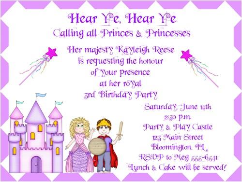 princess and prince birthday party invitations