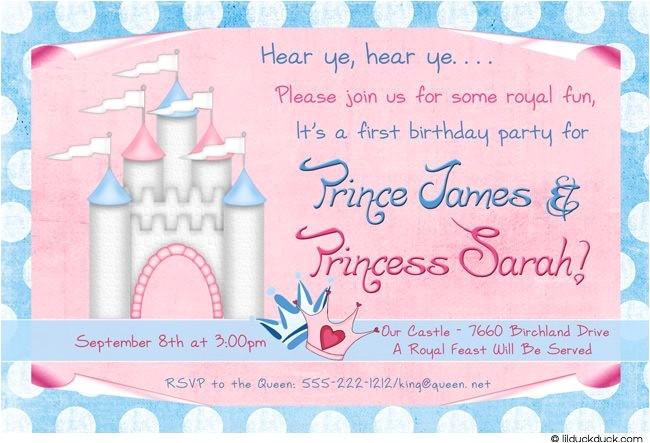 royal photo birthday twin invitation