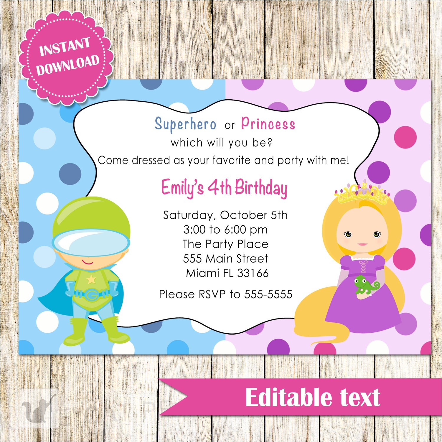 princess superhero birthday party invitations