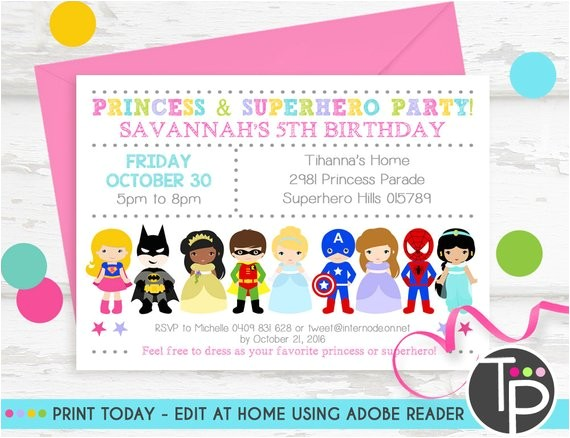 princess superhero party invitation