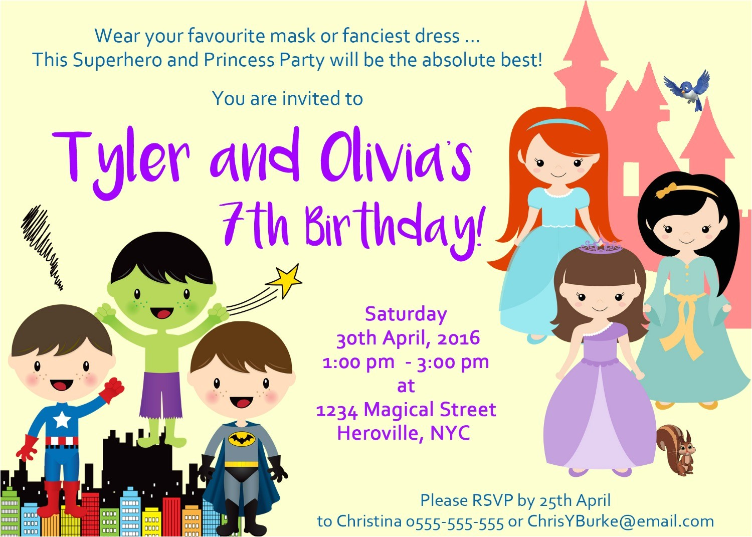 superhero princess party invitation