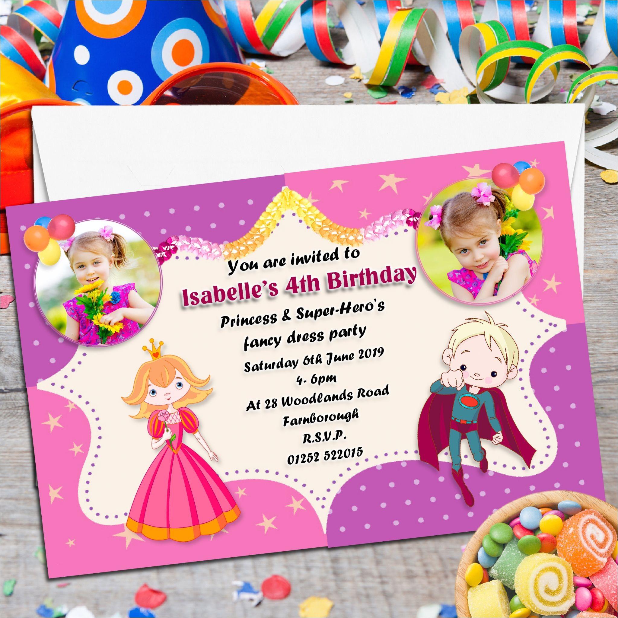 10 personalised princess super heros birthday party photo invitations n88 4273 p