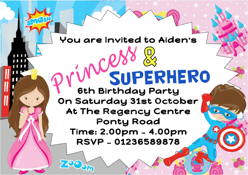 princess and superhero party invitations