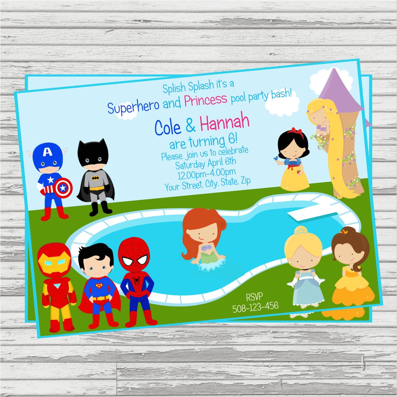 princess superhero party invitations