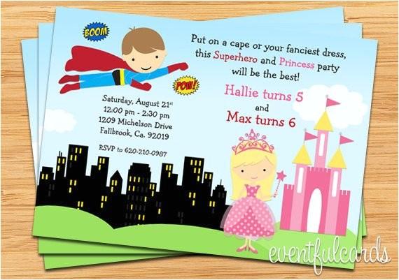Princess and Superhero Party Invitations Superhero and Princess Birthday Party Invitation Printable