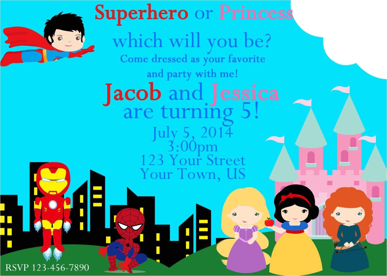superhero and princess invitation