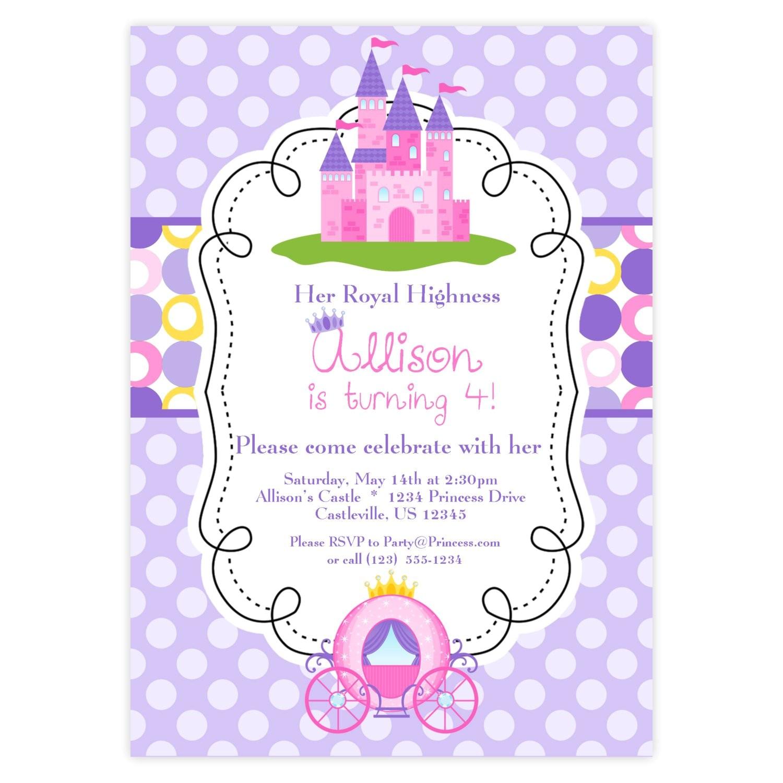 princess invitation purple and pink