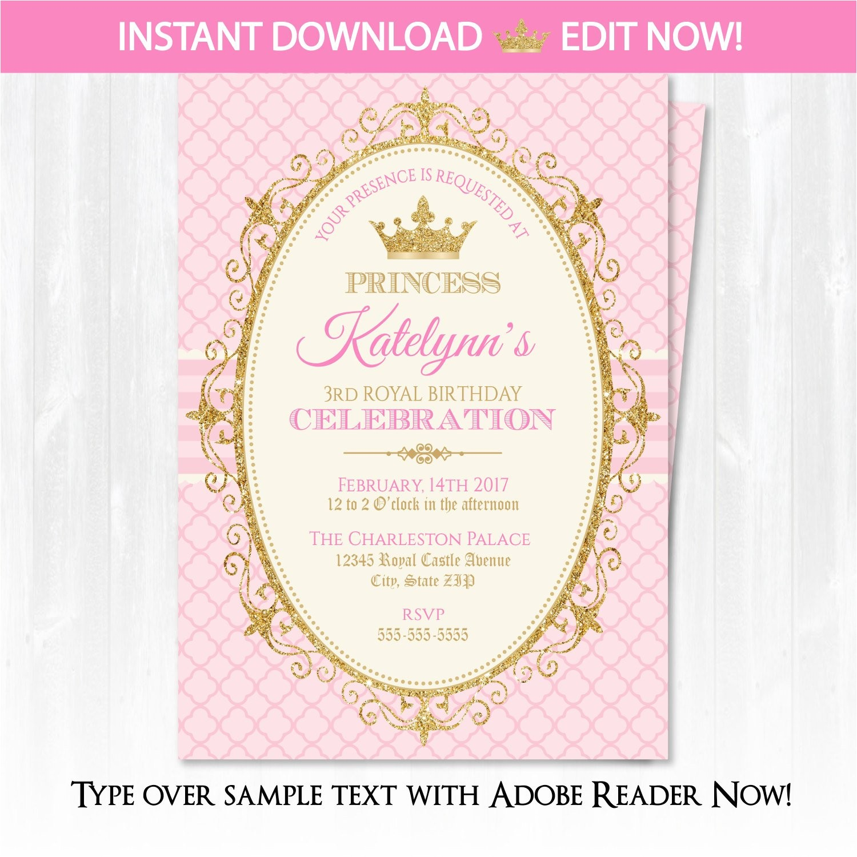 princess invitations princess birthday
