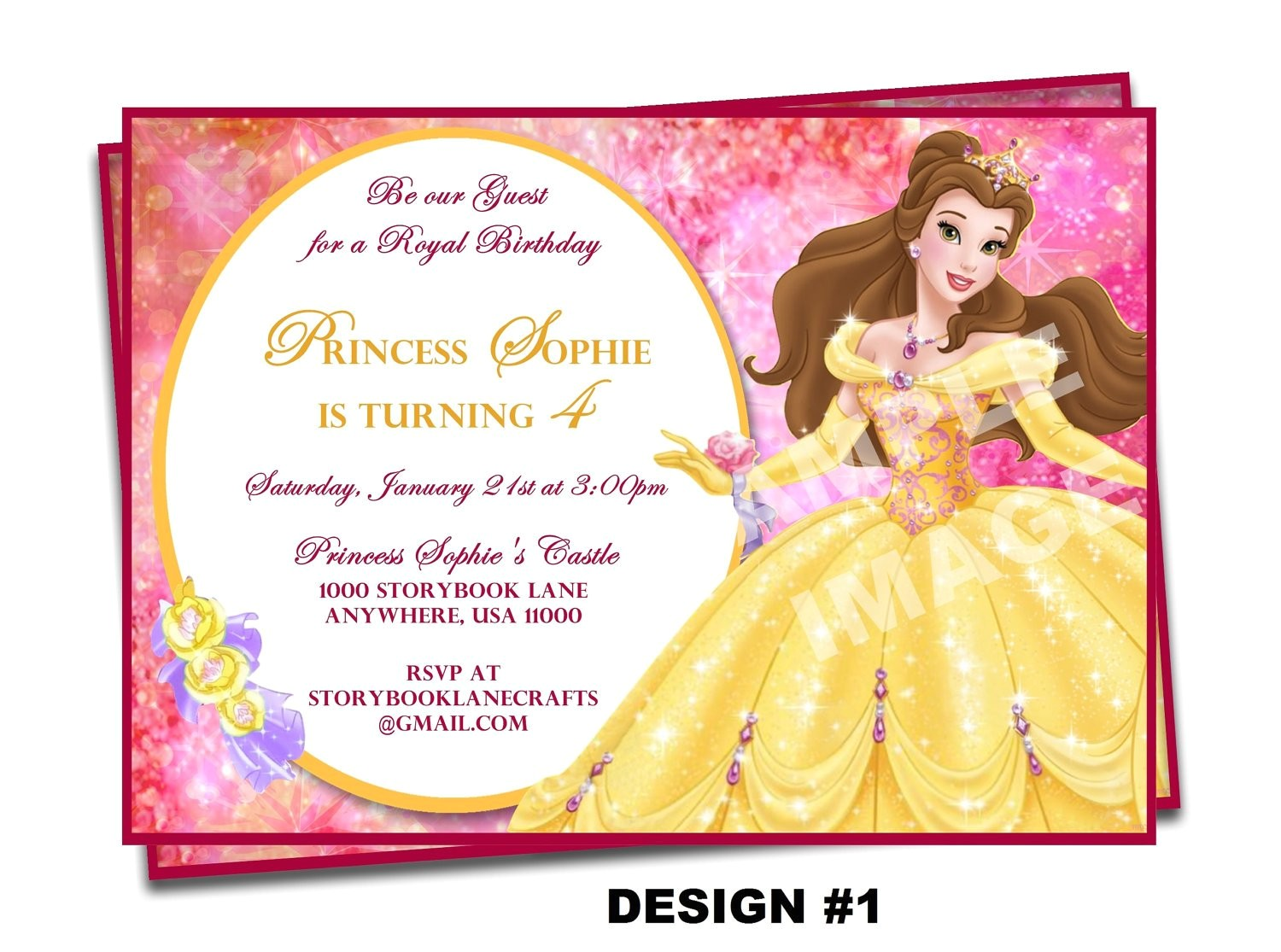 beauty and the beast invitation belle