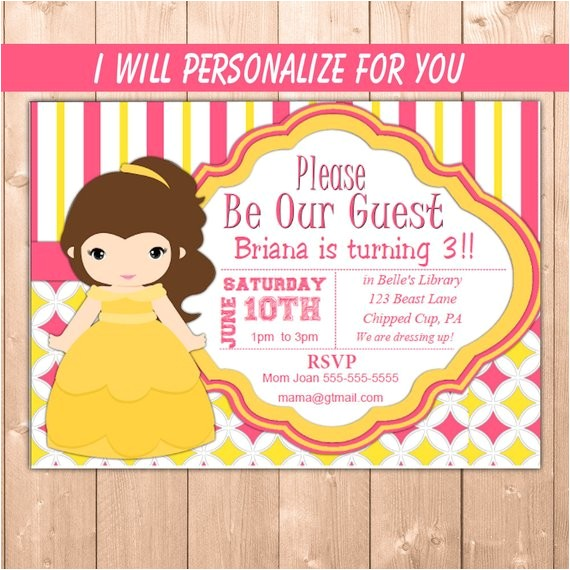 belle invitation princess belle party