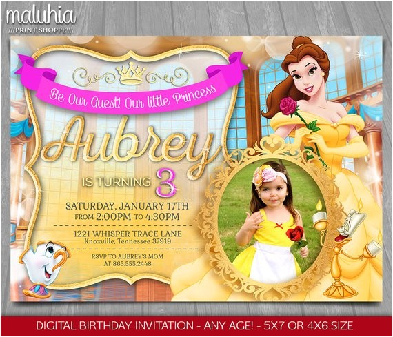 princess belle invitation disney beauty