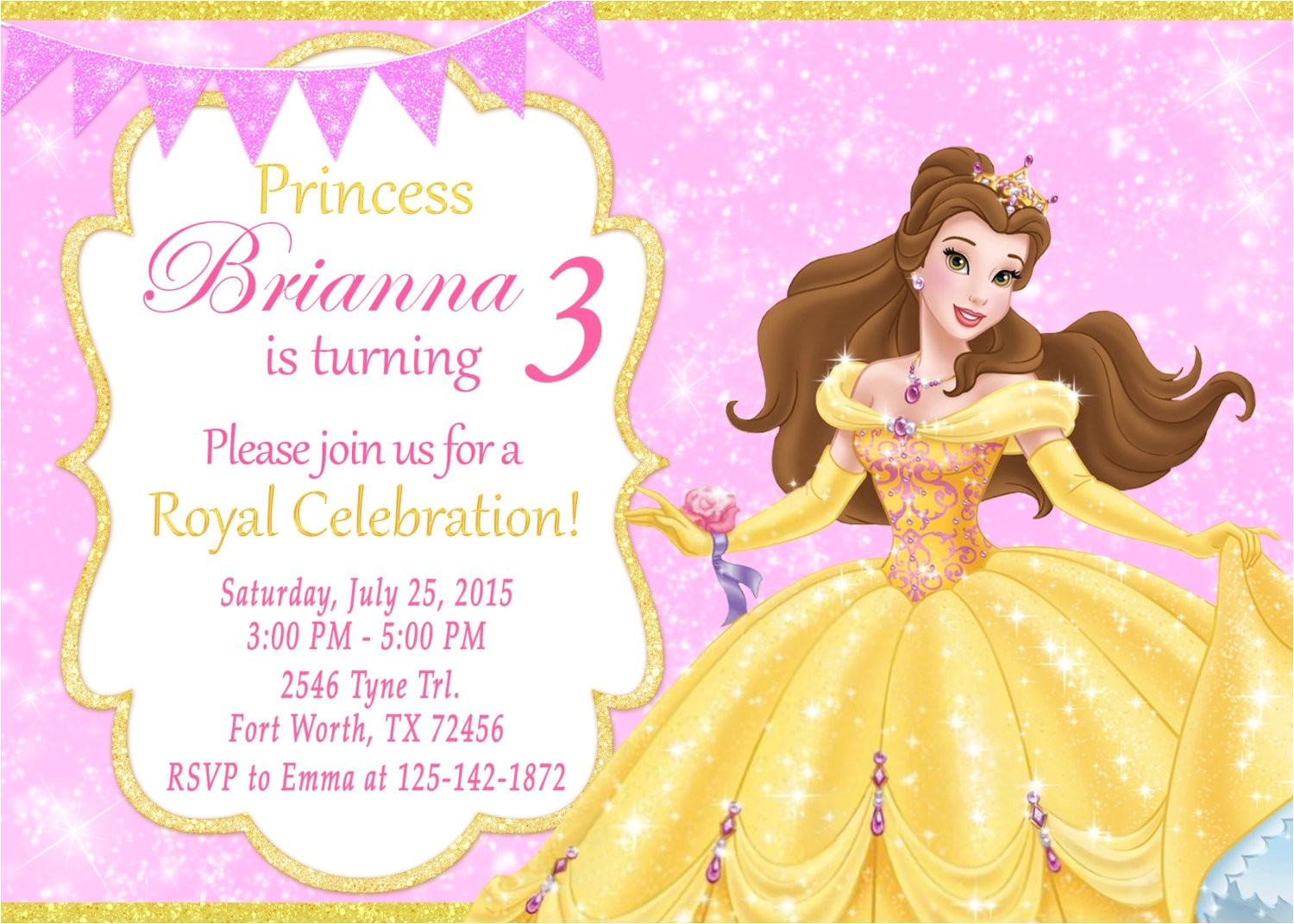 princess belle invitation princess belle