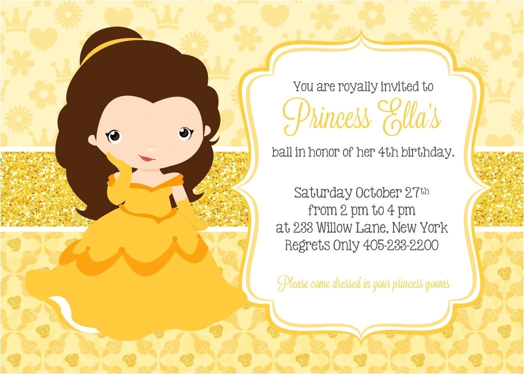 princess belle invitation princess party