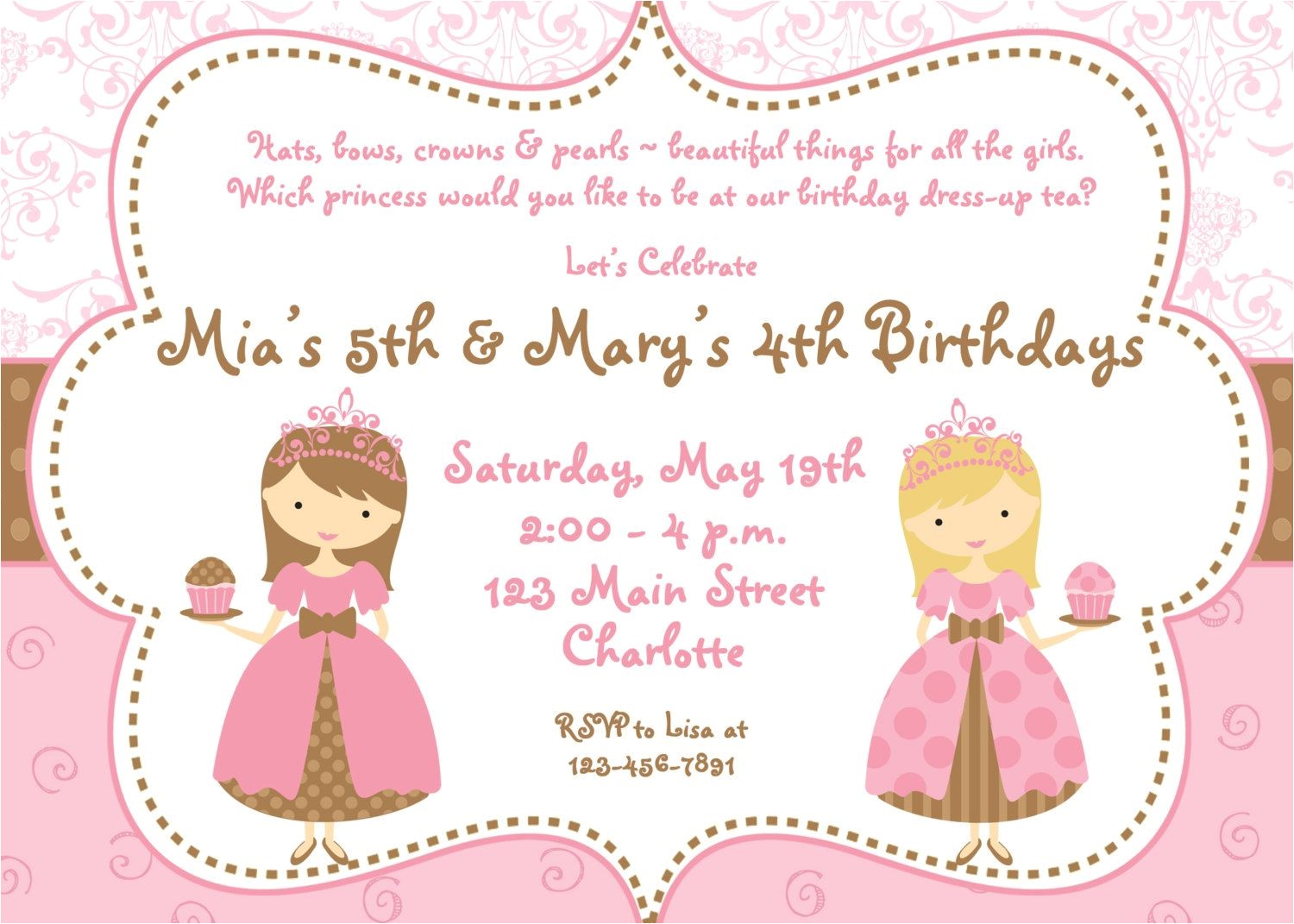 princess dress up party invitations