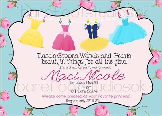 Princess Dress Up Party Invitations Princess Dress Up Invitation Shabby Princess by