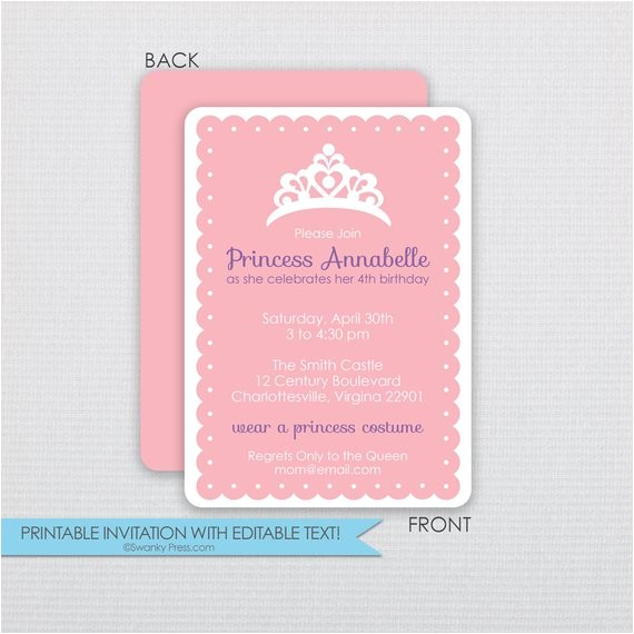 princess dress up party birthday invitations 5