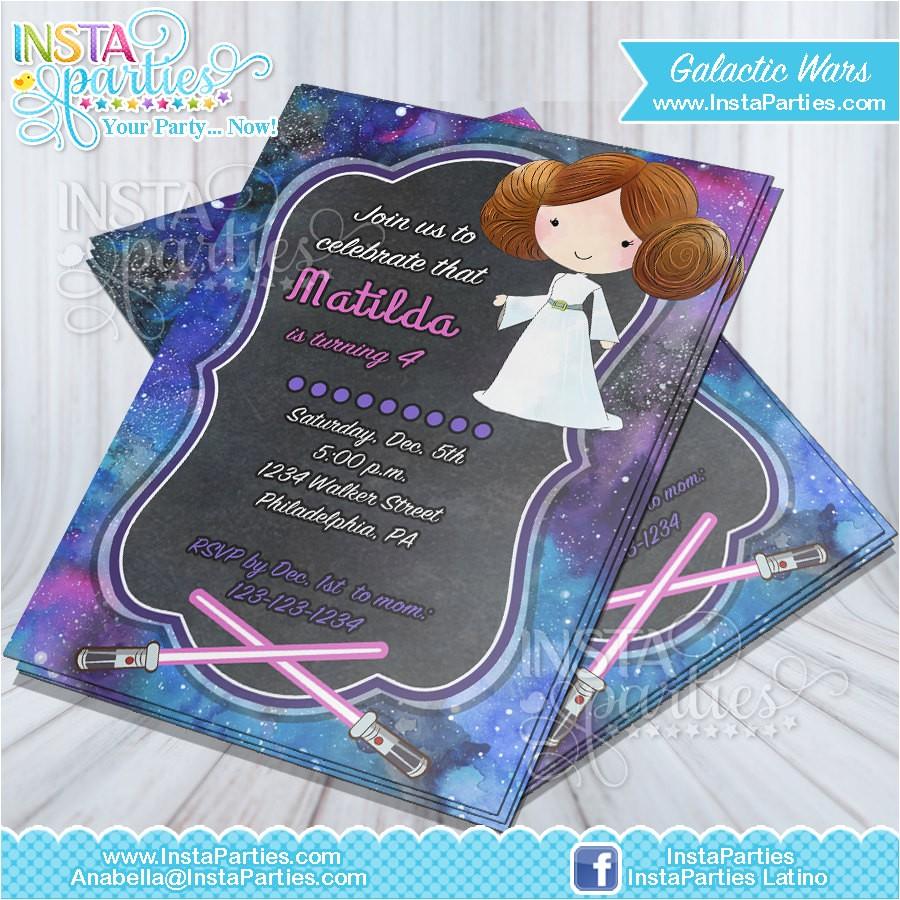 princess leia invitations star wars jedi invitation leia birthday party princess star wars birthday party invites cards download digital