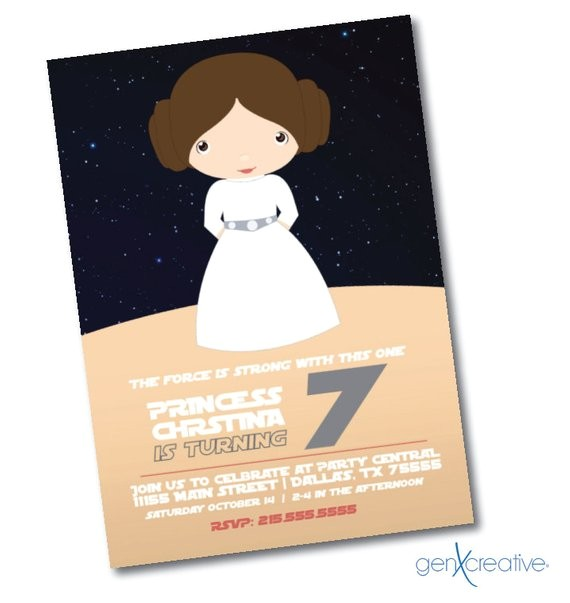 princess star wars birthday invitation