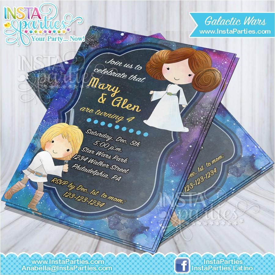 star wars invitations party jedi invitation luke leia birthday party princess star wars birthday party invites cards download digital