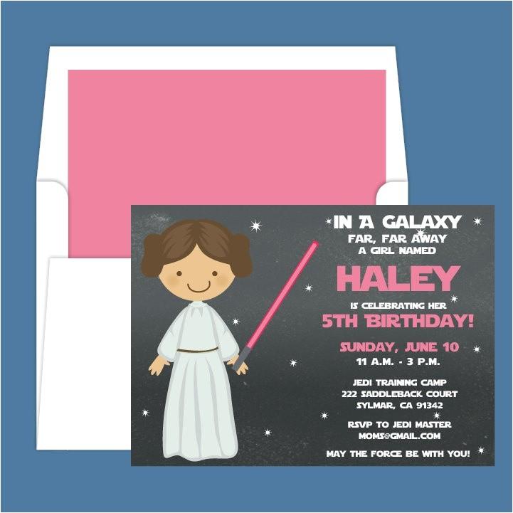 Princess Leia Party Invitations Star Wars Princess Leia Light Saber Birthday Party
