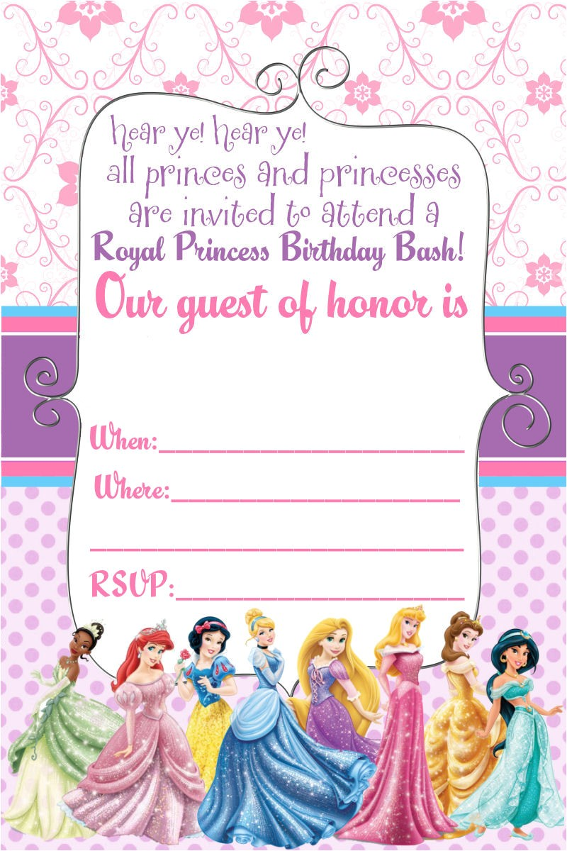 free printable disney princess birthday invitations template