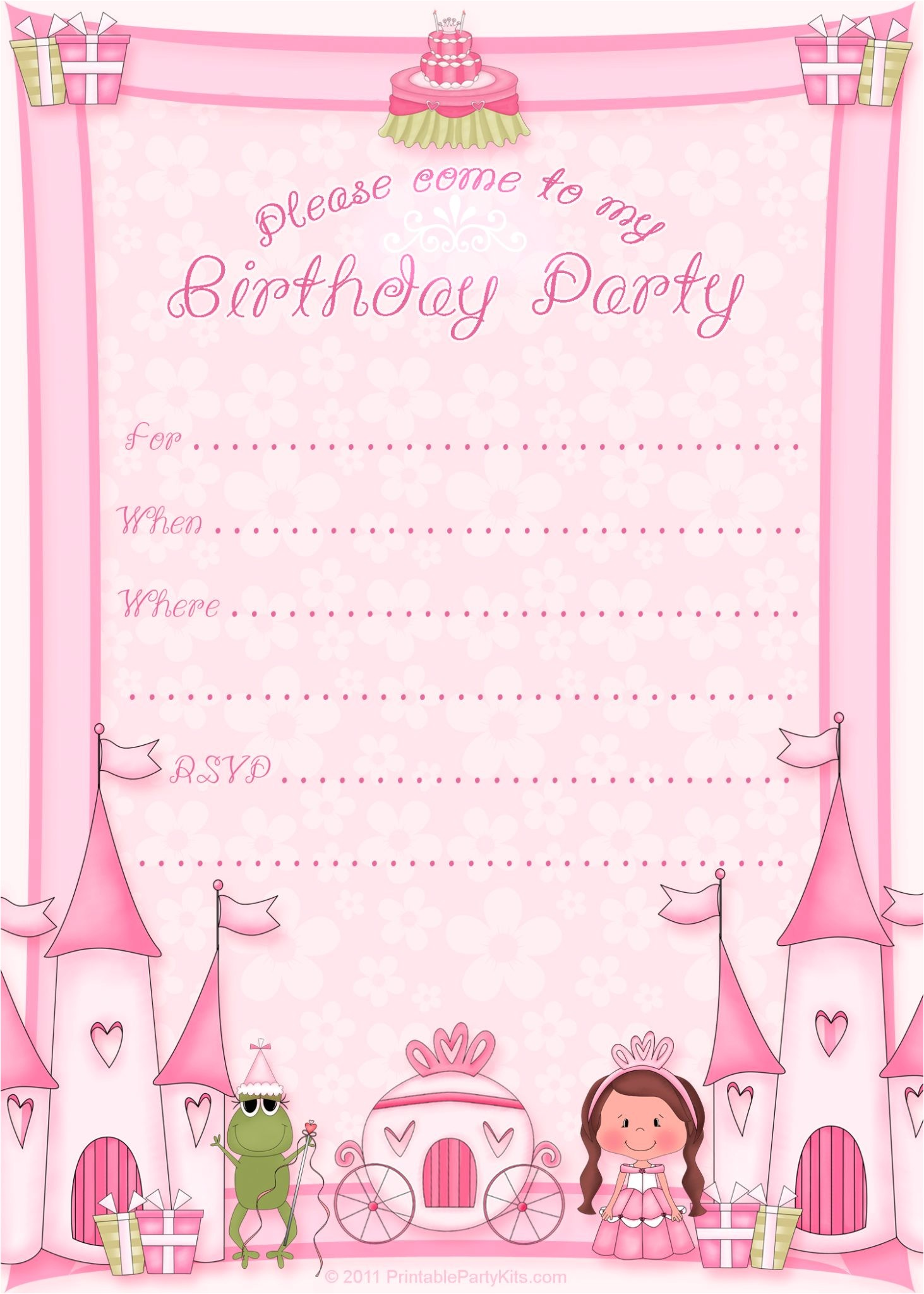 Princess Party Invitations Free Printable Girls Printable Party Kits