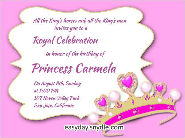 princess birthday invitation wording