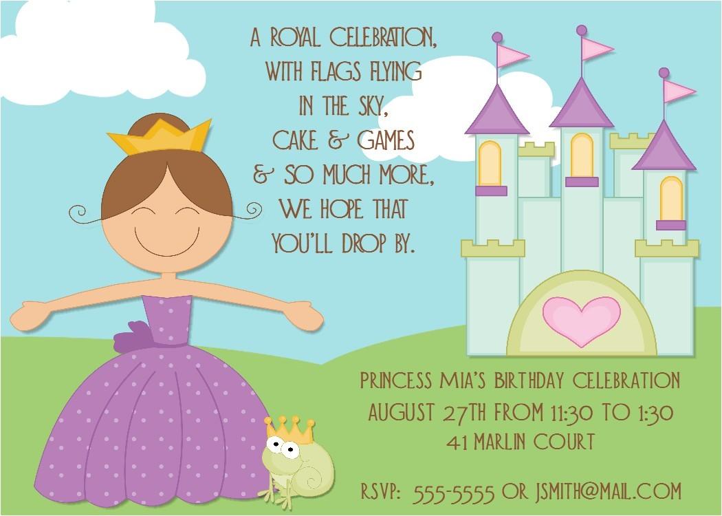 princess birthday party invitations wording