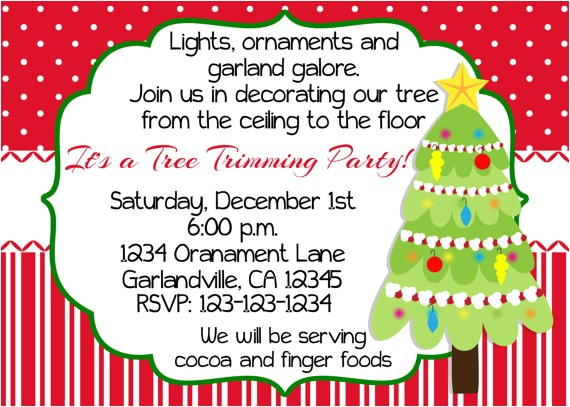 christmas tree trimming party invitation print your own 5x7 or tree trimming party invitation