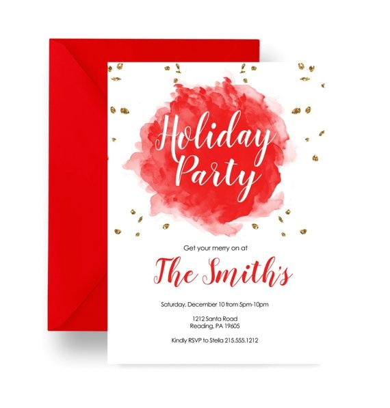 festive holly holiday party invitation red