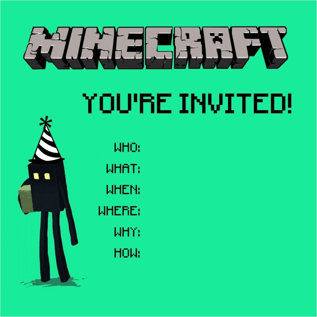 Printable Birthday Party Invitations for 12 Year Old Boy Minecraft Birthday Party Invitations Templates Cimvitation