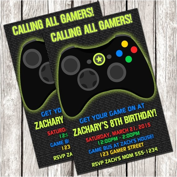 gamer invitation video game birthday