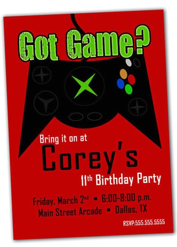 Printable Video Game Birthday Party Invitations Items Similar to Printable Video Game Birthday Party