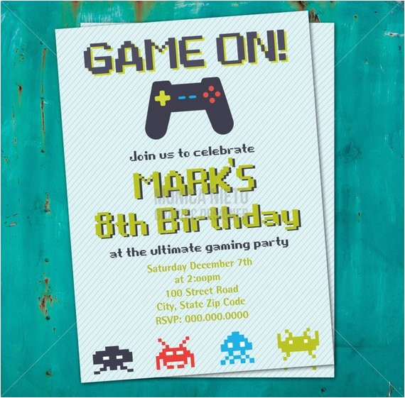 Printable Video Game Birthday Party Invitations Printable Video Game Birthday Invitation 8 Bit Invitation