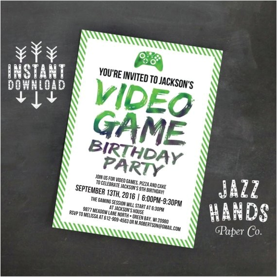 Printable Video Game Birthday Party Invitations Printable Video Game Birthday Invitation Template Diy