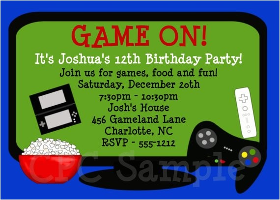 video games birthday invitation video game
