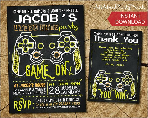 Printable Video Game Birthday Party Invitations Video Game Birthday Party Invitations Cimvitation