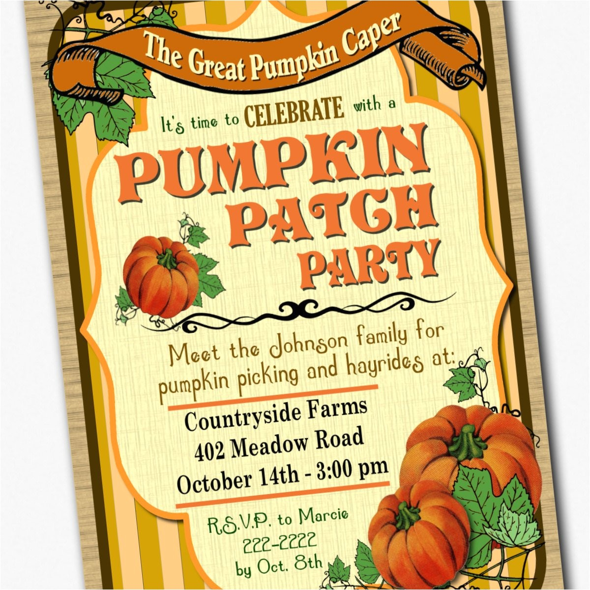 pumpkin patch or harvest party