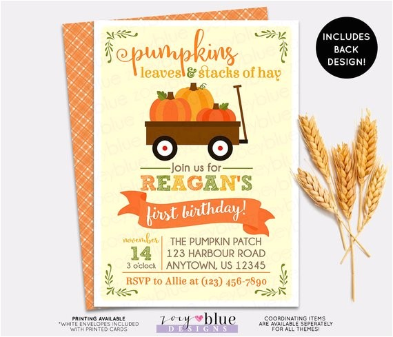 pumpkin patch birthday invitation girl boy