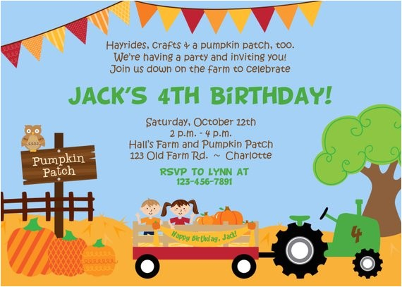pumpkin patch birthday party invitation