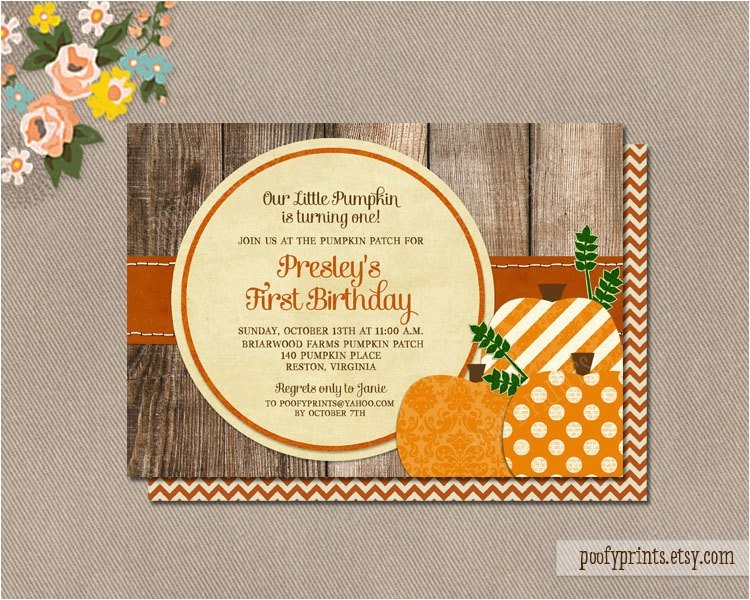 pumpkin patch birthday party invitations