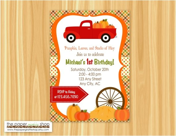 red truck pumpkin patch invitation