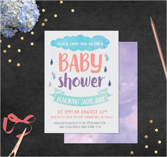 baby shower invitation with envelope