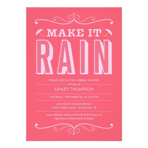hot pink make it rain bridal shower invitations 161272614774749074