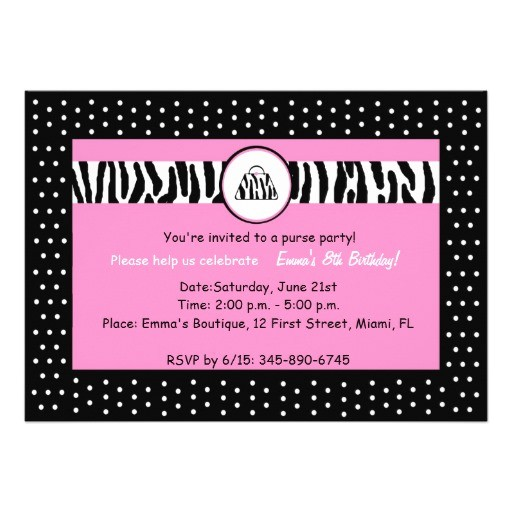 girls purse party or birthday party invitation 161124059705606492