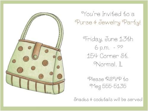 green brown polka dots purse party invitations
