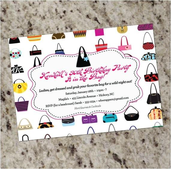 handbags galore purse themed invitations occasion